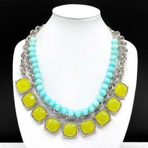 Lia Sophia Bright Lime Rhinestone Aqua Necklace